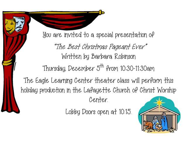 The Best Christmas Pageant invitation